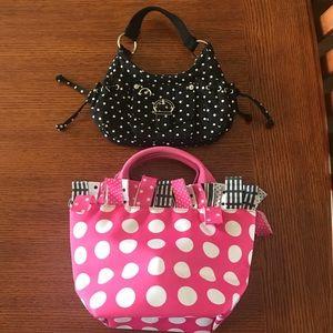Two polka dot mini bags/purses